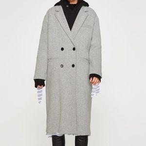 NWT ZARA Gray Double Breasted Masculine Coat S